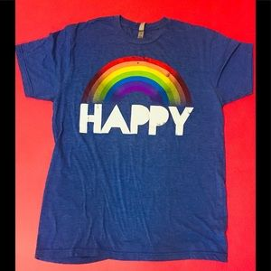 "Be ""HAPPY"" Super Soft TShirt Size Large Blue Red"